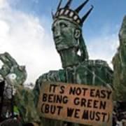 Statue Of Liberty Street Puppet At Political Demonstration Art Print