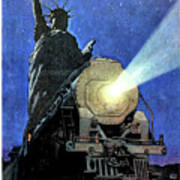 Statue Of Liberty With Steam Train, We Shall Not Fail Art Print