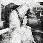 Statue Of Weeping Woman, Lafayette Cemetery, New Orleans In Black And White Sketch Art Print