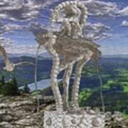 Statue On The Rocks  Art Print
