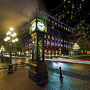 Steam Clock In Gastown Vancouver Bc At Night Art Print