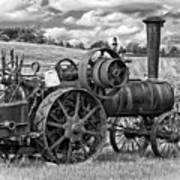 Steam Powered Tractor - Paint Bw Art Print