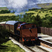 Steam Train 2 Oil Painting Effect Art Print