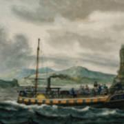 Steamboat Travel On The Hudson River Art Print