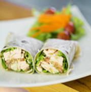 Steamed Salmon And Salad Wrap Art Print