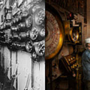 Steampunk - Controls On The Uss Washington 1920 - Side By Side Art Print
