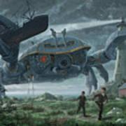 Steampunk Giant Crab Attacks Lighthouse Art Print