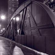 Steel Bridge Chicago Black And White Art Print