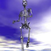 Steel Running Skeleton On Wet Sand Art Print
