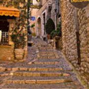 Steep Street In St Paul De Vence Art Print