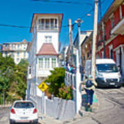 Steep Streets Up The Hills In Valparaiso-chile   Art Print