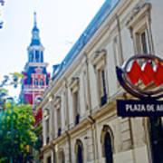 Steepled Building Being Restored On Side Street Of Plaza De Armas In Santiago-chile  Art Print