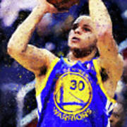Steph Curry, Golden State Warriors - 19 Art Print