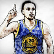 Steph Curry, Golden State Warriors - 20 Art Print