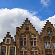 Stepped Gables Of The Brick Houses In Jan Van Eyck Square Art Print