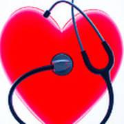 Stethoscope And Plastic Heart Art Print