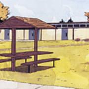 Sticker Landscape 1 Schoolyard Art Print