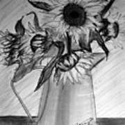 Still Life - 6 Sunflowers In A Jug Art Print