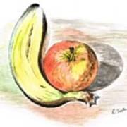 Still Life Of Apple And Banana  Art Print