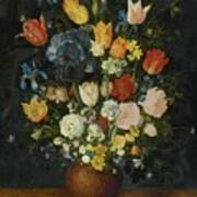 Still Life Of Flowers In A Stoneware Vase Art Print