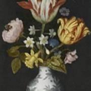 Still Life Of Flowers In A Wan-li Vase Art Print