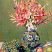 Still Life Of Fruits And Flowers Art Print