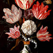 Still Life Of Variegated Tulips In A Ceramic Vase With A Wasp A Dragongly A Butterfly And A Lizard Art Print