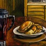 Still Life Pancakes And Coffee Painting Art Print