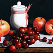 Still Life 'preserve Pot And Fruit' Art Print