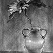 Still Life - Vase With One Sunflower Art Print