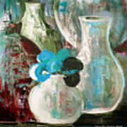 Still Life With A Blue Flower Art Print