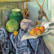 Still Life With A Ginger Jar And Eggplants Art Print