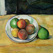 Still Life With A Peach And Two Green Pears Art Print