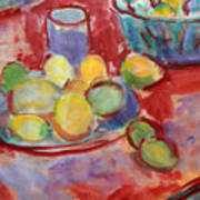 Still Life With A Red Cloth Art Print