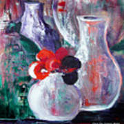Still Life With A Red Flower Art Print