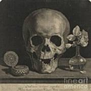 Still Life With A Skull And A Vase Of Roses Art Print