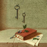 Still Life With A Small Book Art Print