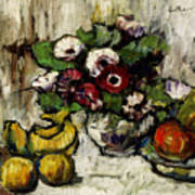 Still Life With Anemones And Fruit Art Print