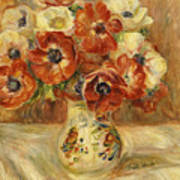 Still Life With Anemones  Art Print by Pierre Auguste Renoir