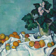 Still Life With Apples And A Pot Of Primroses, 1890 Art Print
