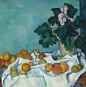 Still Life With Apples And A Pot Of Primroses Art Print