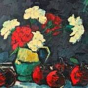 Still Life With Apples And Carnations Art Print by Ana Maria Edulescu