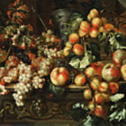 Still Life With Apples And Grapes Art Print