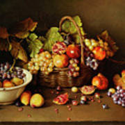 Still Life With Basket And Pomegranate Art Print