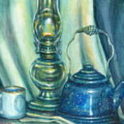 Still Life With Blue Tea Kettle Art Print