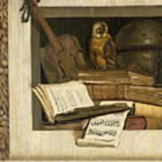 Still Life With Books Sheet Music Violin Celestial Globe And An Owl Art Print