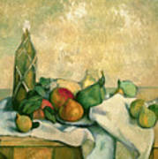 Still Life With Bottle Of Liqueur Print by Paul Cezanne