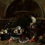 Still Life With Bottles And Oysters Art Print