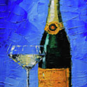 Still Life With Champagne Bottle And Glass Art Print