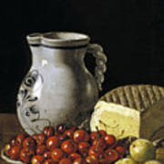 Still Life With Cherries  Cheese And Greengages Art Print